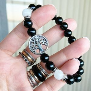 Genuine onyx & white agate tree of life bracelet